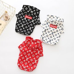 Wholesale New Dog Apparel Fashion - Winter Dog Hoodies Fashion Brand Teddy Puppy Apparel Autumn Warm Outwears Black White Red Sweater Clothing