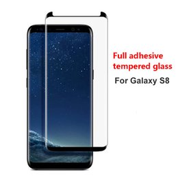 Wholesale Galaxy Note 3d Cases - TOP Qualtiy Full Adhesive Glue Case Friendly Tempered Glass 3D Curved Full Coverage For Galaxy Note 8 S8 Plus