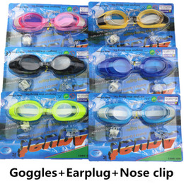 Wholesale Student Swimming - DHL Kids Antifog Waterproof Swimming Goggles Children Boys Girls Students Diving Glasses With Earplug Nose Clip Swim Eyewear Retail Packages