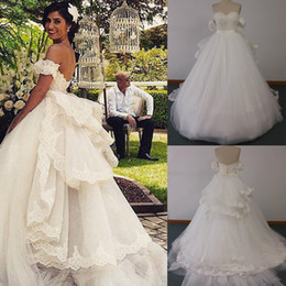 Wholesale Detachable Train Short Lace Wedding - 2015 Ball Gown Wedding Dresses with Detachable Off Shoulder Sleeves and Removable Ruffled Train Puffy Tulle Real Bridal Gowns DHYZ 01