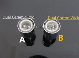 Wholesale Replacement Coils Wicks - BEST Cannon Vase Atomizer replacement coil Dual Ceramic Rod Cotton Wick for Glass Globe Wax Vaporizer Cannon tank VAPOR Bowling Atomizer