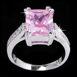Wholesale Rectangle Crystal Ring - Exclusive Rectangle pink Cubic Zircon Lady's 10KT white Gold Filled Classic rings sz6 7 8 9 10