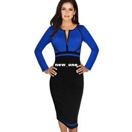 Wholesale Long Sleeve Colorblock Dress - VfEmage Womens Elegant Colorblock Front Zipper Wear to Work Business Casual Office Party Sheath Pencil Bodycon Dress 1150