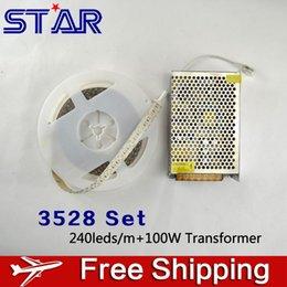 Wholesale Transformer Lights For Car - 3528 LED Strip Light Waterproof 12V 240leds m Ledstrip with 8.5A 100W LED Power Adatper Transformer for Car Ceiling Cabinet Deco