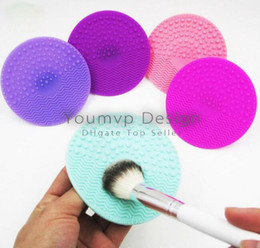 Wholesale Silicone Round Pads - Bossy Makeup Brush Cleaning Pad Silicone Cosmetic brushes Cleaning Pad Round Cleaner Multi-Colors DHL Free JJD1847