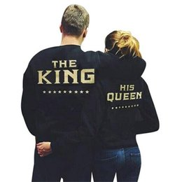 Wholesale Ms Queen - Wholesale 2018 Men's T-shirt wholesale Ms. king and queen KING QUEEN star couple long sleeved jumper sweater printing