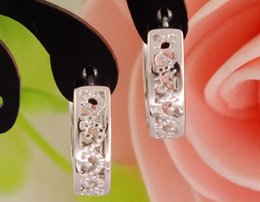 Wholesale Sterling Silver Hoop Earring Crystal - New Sale 925 Sterling Silver Attractive Hollow Splendid Women's Hoop Earrings