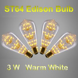 Wholesale Wholesale Squirrel Cage Bulb - Antique Style ST64 Edison Bulbs E27 B22 Warm White 3W Decorative Clear Glass Globe Light Retro Squirrel Cage Pendant Lamp Bulb