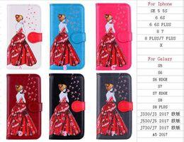 couverture d'iphone Promotion Étui portefeuille en cuir de jeune fille sexy en forme de pissenlit pour iphone X / 8/7 / Plus / 6 6S / SE 5 5S Bling robe scintillante couverture de carte d'identité fente pour carte