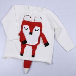 Jersey de zorro de tejer online-Niños Suéteres de punto Ropa Otoño Invierno Niñas Niños 3 Colores Fox Design Jumper Pullover Niños Bebé Algodón Suéteres de punto Ropa