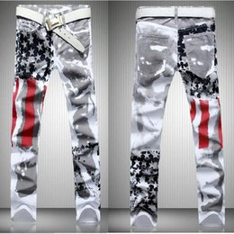 Wholesale Red Flag Design - Free Shipping American Flag Men Jeans   Cotton   men's Clothing regular   large plus size 48  original design