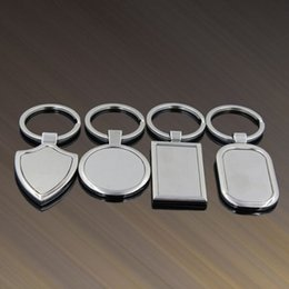 Wholesale Blank Metal Keyring - 4 Designs Newest Metal Blank Keychains Advertising Custom LOGO Keyrings for Promotional Party Gifts Favor ZA5175