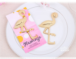 Wholesale Flamingo Weddings - New! Free shipping 100pcs lot factory price zinc alloy flamingo bottle opener, wedding beer opener favors and gifts for guest
