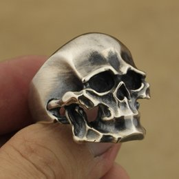 Wholesale Mens Sterling Silver Biker Rings - 925 Sterling Silver Heavy Skull Ring Mens Biker Rock Punk Ring TA43A US 7~15