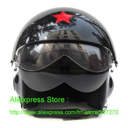 Wholesale Chinese Air Force Helmet - Wholesale-New TK Chinese Military Air Force Jet Pilot Open Face Motorcycle Black Helmet & Visor SIZE M , L , XL , XXL