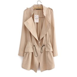 Wholesale zipper design trench coat - Wholesale- 2016 Women Cardigans Casual Spring Autumn Turn-down Collar Long Trench Ladies Pleated Pocket Design Outwear Coat D2013