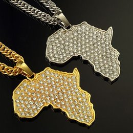 Wholesale Music Pendant Necklaces - Hip Hop Jewelry Gold Silver Plated Chain For Men Rapper Vintage Crystal Star Street Music Africa Map Metal Necklace