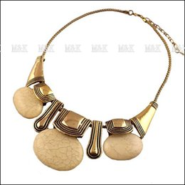 Wholesale Bib Agate Necklace - Fashion Women Dress Accessories Choker Statement Necklace,Bib Collar Jewelry With Elegant Alloy Chains And Agate Pendant N255