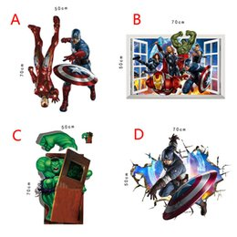 Wholesale America Wallpapers - 4 Style The Avengers Super Heroes wallpaper 2015 NEW Kids cartoon Hulk Captain America Iron Man Thor Wall stickers B001