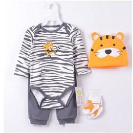 Wholesale Tiger Bodysuit Baby - Payifang Baby Clothes Suits 4-pieces Set Zebra Bodysuit pant t-shirt sock bib 5pcs sets Tiger ropa de bebe roupas