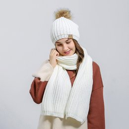 Wholesale Hair Tie Set - Women Hats Scarves Sets With Big Hair Balls Wool Knitted Beanie Wraps Sets Winter Warm Kit New Arrival 29lz B