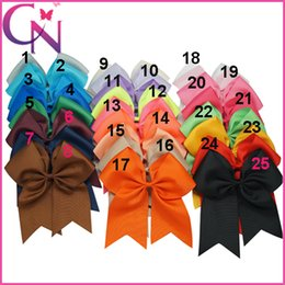 "Wholesale Cheerleading Wholesalers - Wholesale 8"" Large Cheer Bow Baby Girl Solid Ribbon Cheer Bows With Alligator Clip Handmade Girls Cheerleading Bows 25Pcs lot"