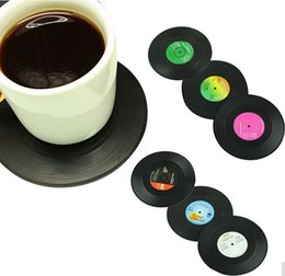 Wholesale Fashion Coasters - New Fashion 6pcs Set Spinning Retro Vinyl CD Record Drinks Coasters   Vinyl Coaster Cup Mat