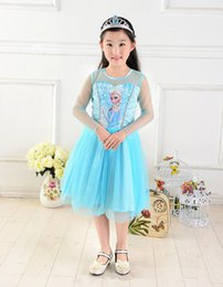Wholesale Cartoon Girls Beautiful Clothes - Summer frozen Girls dress Frozen clothing Princess dress girl lace elsa dress Cartoon Tutu Dress frozen dress beautiful baby girl dresses