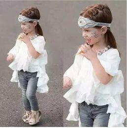 Wholesale Wholesale Runway Clothing - Hot Baby Girls Ruffle Runway t-shirts sKids Girl Cotton Flare Sleeve t-shirt Girl Princess Half Sleeve dresses 2016 Babies Clothes A11