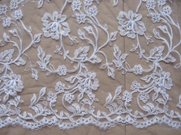 Wholesale Corded Lace Wholesale - New Arrival Embroidery Wedding Corded Lace Fabric White Color 3Meters