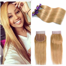 Wholesale Colored Brazilian Hair Weave - Brazilian Virgin Hair 27# Colored Blonde Human Hair 3 Bundles With Lace Closure Cheap Blonde Straight Hair Weaves With 4x4 Lace Closure