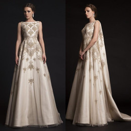 Wholesale Embroidered Tulle Evening Gowns - Krikor Jabotian Prom Dresses 2015 Embroidered Beading Lace Appliques Dresses Party Evening Wear Arabic Watteau Train Satin Evening Gowns