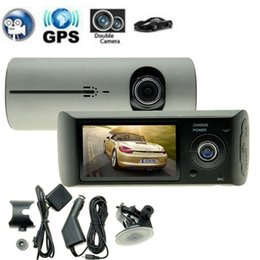 "Wholesale Dual Lens Dashboard - X3000 R300 DVR with GPS 2.7"" Dual Lens Dashboard Dash Camera R300 Car DVR black box video recorder+GPS logger dual camera car dvr hd one day"