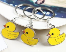 Wholesale Duck Favors - NEW Fashion wedding Keychain High quality metal Little Yellow duck KeyChain Best wedding favors Christmas gift 007
