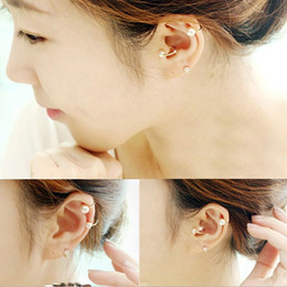 Wholesale Pearl Earings Wedding - New Brincos Clip Earing boucle d'oreille Bijoux Pearls Ear Cuff Earrings For Women Wedding Earings Girl Jewelry Pendientes