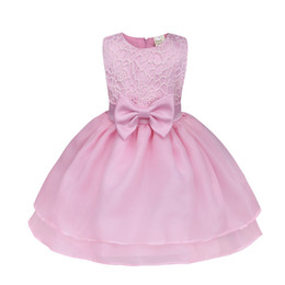 Wholesale wholesale special occasion dresses - 2018 Girls Baby Special Occasion Dresses Clothing Summer Bow Toddler Ball Gown Princess Dress 4 Layer Infant Gauze Prom Dresses Clothes