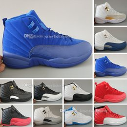 Wholesale Chinese Canvas Sneakers - Mens Cheap New 12 Red Flu Game Chinese New Year Taxi Gamma Blue Basketball Shoes Sneakers for Men Outdoor Sports Shoes Size US 5.5-13