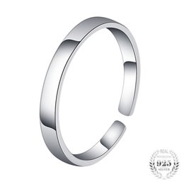 Wholesale First Engagement - fashion man little finger woman first finger open ring 925 sterling silver band ring with imitation rhodium plated factory price