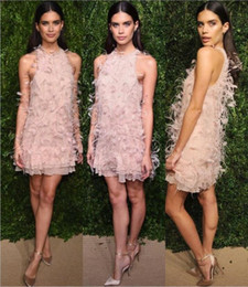 Wholesale Ostrich Feathered Short Prom Dresses - Beauty Prom Dresses Blush Pink Luxury Ostrich Feather Halter Beads Fashion Dresses Free Shipping Custom Made Cocktail Dresses