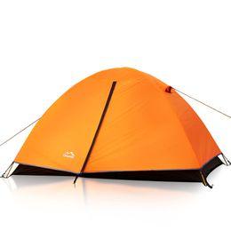 Al por mayor-2 persona Al aire libre Portátil de aleación de aluminio polos tiendas de campaña de doble capa impermeable ultraligero camping senderismo tiendas de campaña doble naranja desde fabricantes