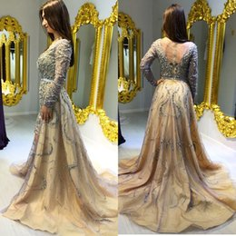 Wholesale Shiny Evening Gowns - 2015 Elie Saab A-line Evening Gowns Sheer Neck Shiny Crystals Long Sleeves Zuhair Vestidos Festa Evening Dresses Prom Dresses