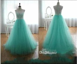 Wholesale Tulle Draped Cover Up - 2016 Cheap Prom Dresses With Lace Crew A Line Back Covered Button Mint Green Evening Gowns Cheap Long Dresses Party Evening Summer