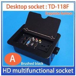 Wholesale Information Outlets - HDMI multifunctional  VGA,USB,AUDIO multimedia desktop socket   meeting desktop information box  outlet box tops | Brushed black