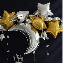 Wholesale Moon Stars Decor - 36 Inch Moon 18inch Five-Pointed Gold & Sliver Star Foil Balloons Wedding Birthday Party Decor Pure Color Metallic Helium Globos 10pcs