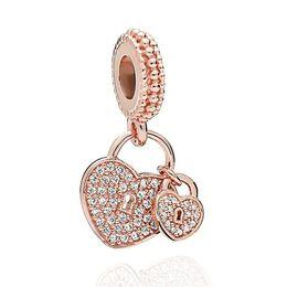 2019 bracelet en or pandora 14k en gros NOUVELLE serrure d'amour double en or rose 18 carats avec diamants pendentif perles bricolage bijoux perles en argent pour bracelet collier accessoires bijoux