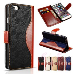 Wholesale Hybrid Stand - For iphone 6 6S Plus Hybrid Lace Retro Leather Cover Wallet Case Stand With Card Slots for iphone6 6Plus