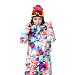 Wholesale Waterproof Coats Plus Size Women - Wholesale- GSOU SNOW free shipping ski jackets women winter outdoor windproof snowboard coat plus size ladies printing skiing jakcets