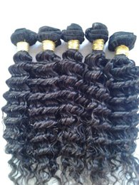 Wholesale Real Human Hair Bulk - 50% off real human hair weave extensions deep wave natural color 7A virgin brazilian hair bulk 3pcs lot for black woman