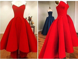 Wholesale Strapless Lace Tea Length Satin - 2015 Bright Red Sweetheart Hi Lo Prom Dresses Plus Size Satin Back Zipper Ruffles Gorgeous Sexy Girl Party Evening Gowns High Low Affordable
