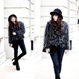 Wholesale Ostrich Feather Coat Xl - Wholesale-Women's Winter Warm Faux Ostrich Feather Fur Coat Long Hair Party Jacket Casual Plus Size Faux Fur Coats